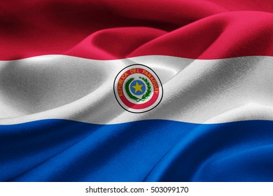 Paraguay flag blowing in the wind