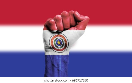 Paraguay flag painted on a clenched fist. Strength, Power, Protest concept