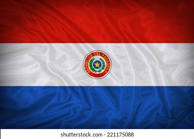 Paraguay flag pattern on the fabric texture ,vintage style