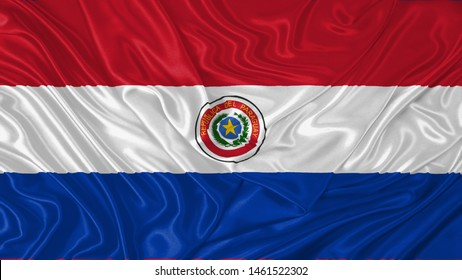 Paraguay Flag of Silk, Flag of Paraguay fabric texture background.
