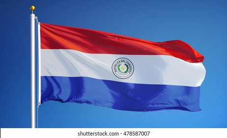 Paraguay flag waving against clean blue sky, close up, isolated with clipping path mask alpha channel transparency