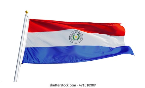 Paraguay flag waving on white background, close up, isolated with clipping path mask alpha channel transparency