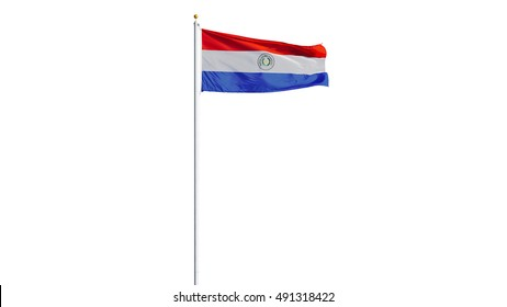 Paraguay flag waving on white background, long shot, isolated with clipping path mask alpha channel transparency