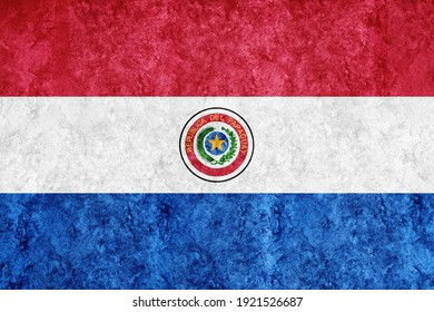 Paraguay Metallic flag, Textured flag, grunge flag