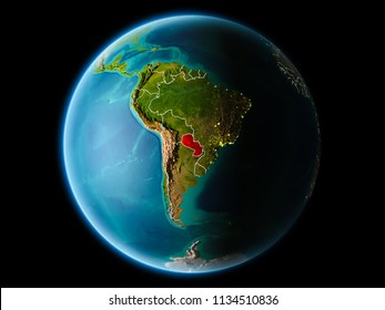 Paraguay from orbit of planet Earth at night with highly detailed surface textures with visible border lines and city lights. 3D illustration. Elements of this image furnished by NASA.