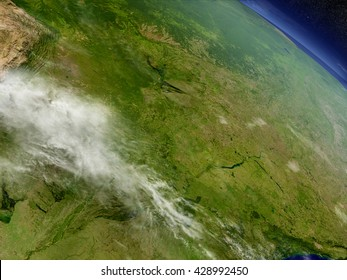 Paraguay with surrounding region as seen from Earth's orbit in space. 3D illustration with highly detailed planet surface and clouds in the atmosphere. Elements of this image furnished by NASA.