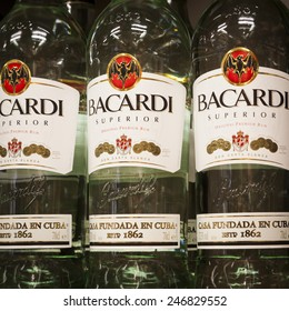 PARAINEN, FINLAND - APRIL 23, 2013: The history of Bacardi Rums started in Santiago de Cuba in 1862. Today the headquarters are in Bermuda.