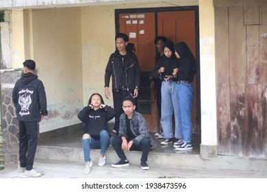 Parakan, Temanggung, Central Java, Indonesia, 5 - January - 2021, people in black clothes and gangster style