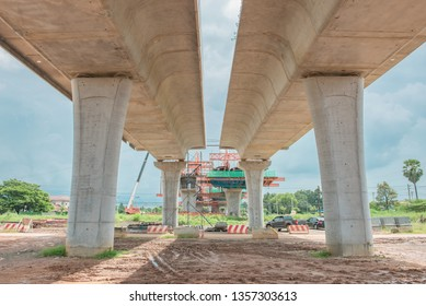 Parallel bridge way under contruction,countryside,long bridge,tollway,The road outside
