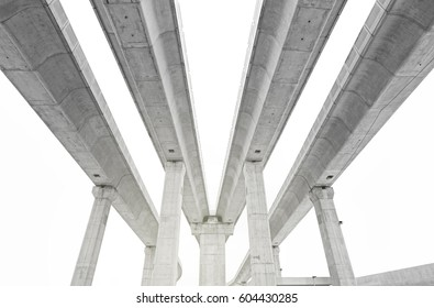 Parallel elevated concrete highway. Processed in monochrome.