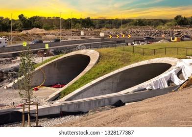 Parallel highway tunnels under construction in Stavanger, Norway.