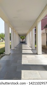 Parallel pillar architecture structure. Interior view of hall pillar in decreasing order of height. Deenbandhu Chhotu Ram university of science and technology. Sonipat, Haryana/India - June 7, 2019.