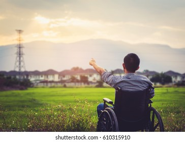 Paralyzed man in Wheelchair pointing his finger to the evening  sky  in front of  green field background , hope concept