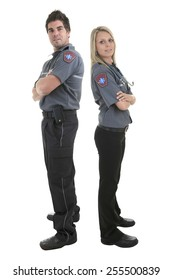 Paramedic team employee in the front of a white background