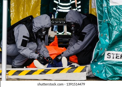 Paramedics demonstrate the decontamination procedure during the launch of Northern Ireland Ambulance Service (NIAS) Hazardous Area Response Team (HART).
