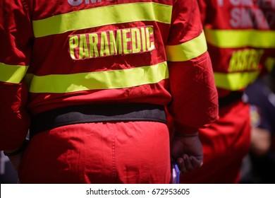 Paramedics rescue the victim of a drill car crash