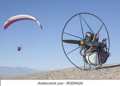Paramotor in the desert