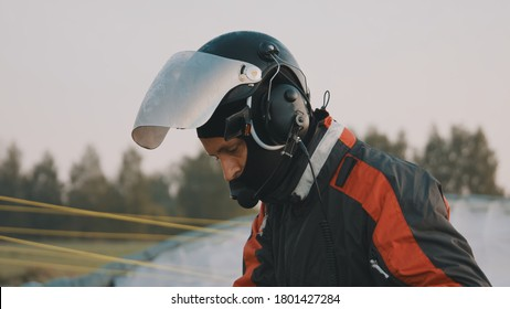 Paramotorgliding. Portrait of a man paraglider with a safety helmet