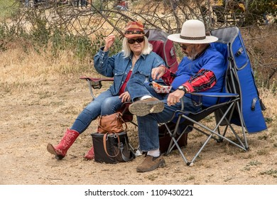 Paramount Ranch, Calabasas CA 05-20-2018 Visitors picnicking in nature at the 58th Anniversary Topanga Banjo and Fiddle contest and Folk Festival in Paramount Ranch