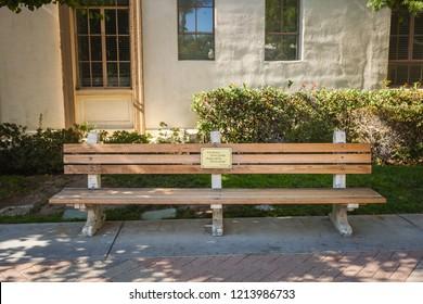 Paramount Studio, Los Angeles - Jul 28, 2018: the original bench of Forrest Gump in Paramount Studio courtyard