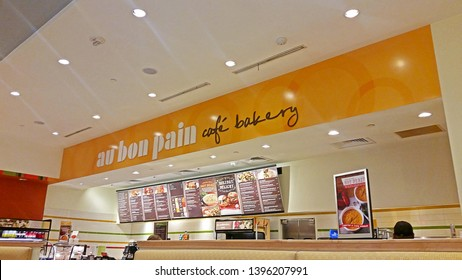 PARAMUS, NEW JERSEY - DECEMBER 6, 2016: An interior view of Au Bon Pain Café Bakery restaurant which is a fast-casual bakery and cafe chain headquartered in Boston, Massachusetts.
