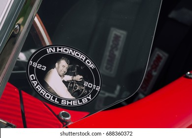 Paramus, NJ - 4/21/17 - A sticker commemorating Carrol Shelby. The Shelby Cobra was the king of muscle cars with it's large 427 big block engine.