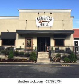 PARAMUS, NJ-MAY 10, 2017:  Exterior of a Bonefish Grill restaurant in suburban New Jersey. Bonefish Grill is a national upscale seafood restaurant chain.