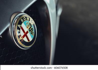 Paramus,NJ - February 18th 2017 - a closeup of the front grill on the Alfa Romeo 4c.
