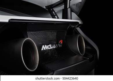 Paramus,NJ - September 24th 2016 - The rear exhaust and ventilation of the dramatic McLaren 675LT. Rear end