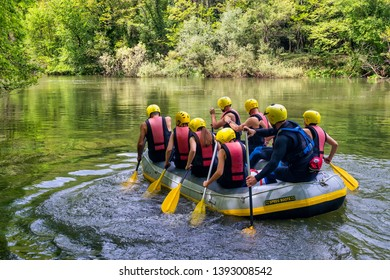 Paranesti, Drama, Greece - May 1, 2019: adventure team doing rafting on the cold waters of the Nestos River in Paranesti. Nestos river is one of the most popular among rafters in Greece