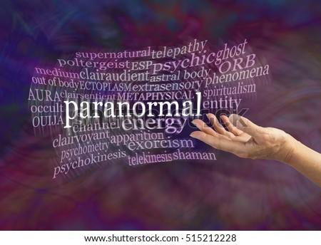 Paranormal Phenomena Word Cloud Female Hand Stock Photo