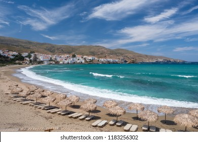 Paraporti beach next to Chora city on Andros island, Cyclades, Greece