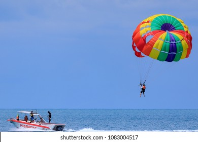 Parasail on the sky in Samui,Thailand 03-05-2018