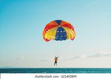 Parasailing at  Beach in Pattaya Thailand