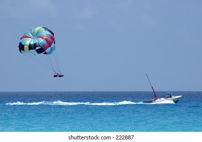 Parasailing over the Caribbean Sea, Cancun.