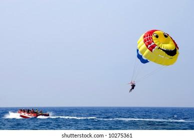 Parasailing over the Mediterranean Sea