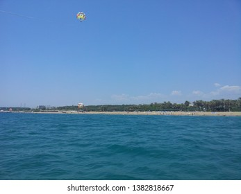 Parasailing over the turquoise sea in Antalya.
