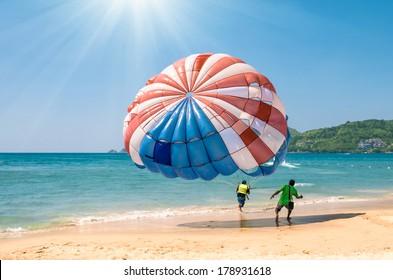 Parasailing at Patong Beach in Phuket - Thailand extreme Sports