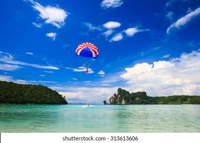 Parasailing at Phi phi island in krabi, Thailand.
