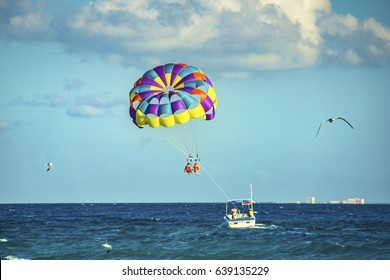 Parasailing. Playa del Carmen beach, south of Cancun, Quintana Roo, Mexico