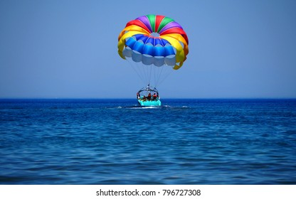 Parasailing in Rhodos, Greece.