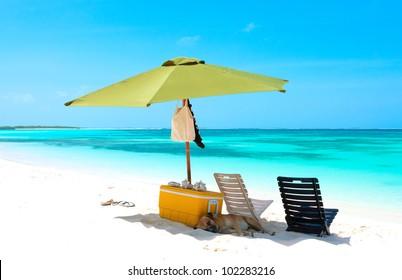 Parasol on the beach of archipelago Los Roques, Venezuela