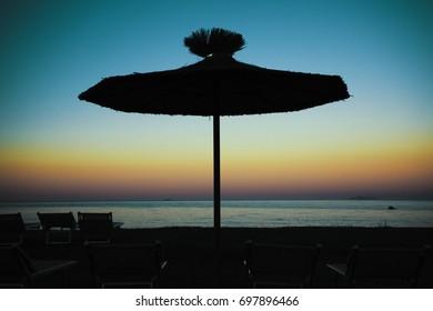 Parasol at sunset