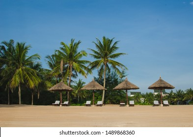 Parasols and deck chairs under palms trees on an ocean shore in Phu Quoc island, Vietnam, South Asia