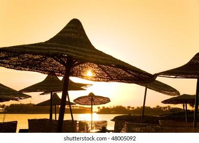 parasols and sunrise