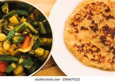 Paratha with Okra Fry