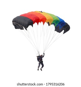 Paratrooper is controlling parachute in the air , picture isolated on white background. This has clipping path.