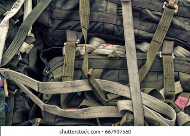 Paratrooper parachute bags pilled up