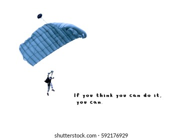 paratrooper parachute jump in isolated white with brave quote.