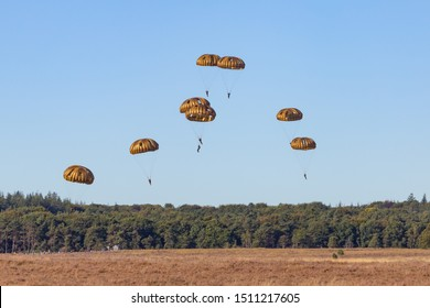 Paratroopers landing on the Ginkel heath 75 years remembrance of Operation Market Garden WOII Arnhem in the Netherlands